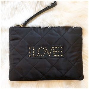Sam Edelman Quilted Love Clutch Black and Gold New